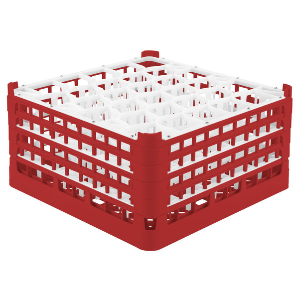 "Vollrath 52845 Signature Lemon Drop Full-Size Red 30-Compartment 8 1/2"" XX-Tall Glass Rack Main Image 1"
