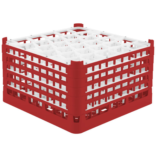 """Vollrath 52848 Signature Lemon Drop Full-Size Red 30-Compartment 10 9/16"""" XXX-Tall Plus Glass Rack Main Image 1"""