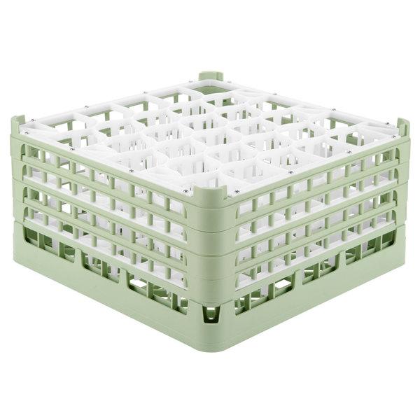 "Vollrath 52846 Signature Lemon Drop Full-Size Light Green 30-Compartment 9 1/16"" XX-Tall Plus Glass Rack"