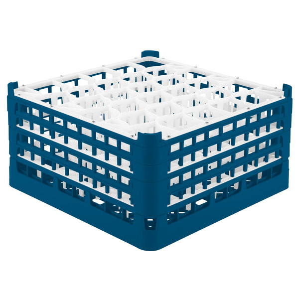 "Vollrath 52846 Signature Lemon Drop Full-Size Royal Blue 30-Compartment 9 1/16"" XX-Tall Plus Glass Rack"