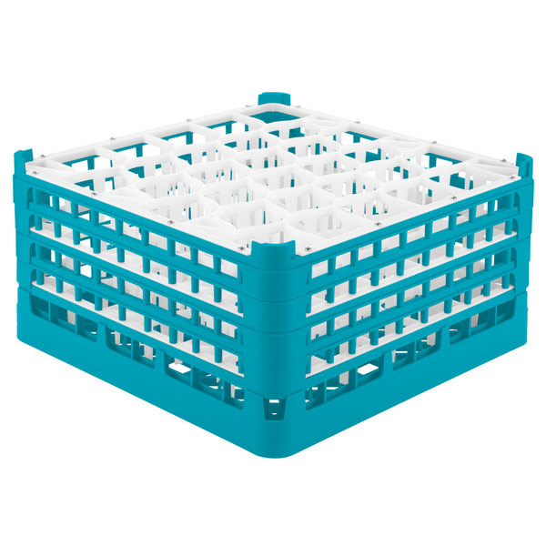"Vollrath 52845 Signature Lemon Drop Full-Size Light Blue 30-Compartment 8 1/2"" XX-Tall Glass Rack Main Image 1"