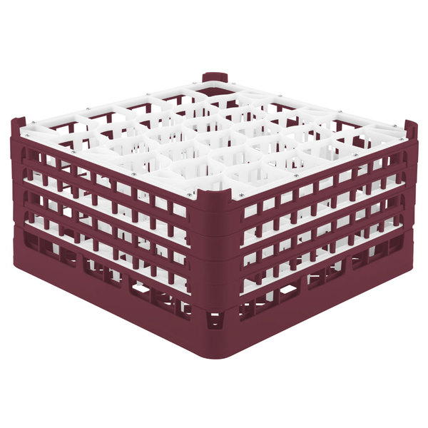 "Vollrath 52846 Signature Lemon Drop Full-Size Burgundy 30-Compartment 9 1/16"" XX-Tall Plus Glass Rack Main Image 1"