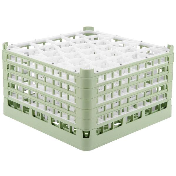 "Vollrath 52847 Signature Lemon Drop Full-Size Light Green 30-Compartment 9 15/16"" XXX-Tall Glass Rack"