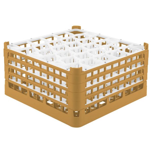 "Vollrath 52845 Signature Lemon Drop Full-Size Gold 30-Compartment 8 1/2"" XX-Tall Glass Rack"