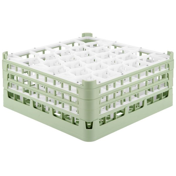 "Vollrath 52844 Signature Lemon Drop Full-Size Light Green 30-Compartment 7 11/16"" X-Tall Plus Glass Rack"