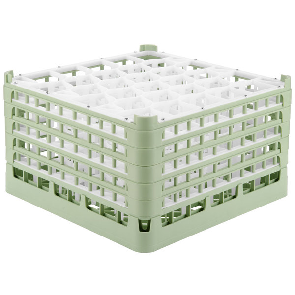 "Vollrath 52848 Signature Lemon Drop Full-Size Light Green 30-Compartment 10 9/16"" XXX-Tall Plus Glass Rack"