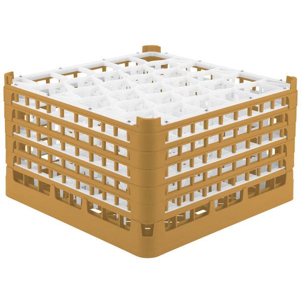 "Vollrath 52848 Signature Lemon Drop Full-Size Gold 30-Compartment 10 9/16"" XXX-Tall Plus Glass Rack"