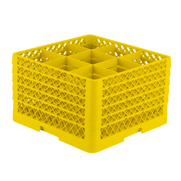 """Vollrath TR10FFFFA Traex® Full-Size Yellow 9-Compartment 11"""" Glass Rack with Open Rack Extender On Top Main Image 1"""