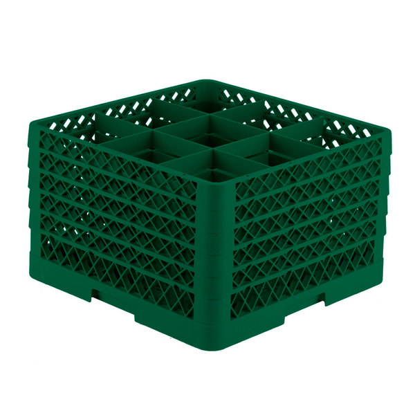 """Vollrath TR10FFFFA Traex® Full-Size Green 9-Compartment 11"""" Glass Rack with Open Rack Extender On Top"""