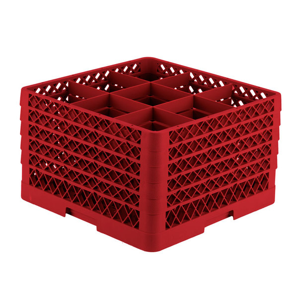 "Vollrath TR10FFFFA Traex® Full-Size Red 9-Compartment 11"" Glass Rack with Open Rack Extender On Top"