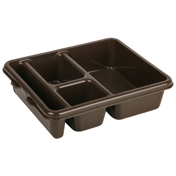 "Cambro 9114CP167 9"" x 11"" Brown 4 Compartment Meal Delivery Tray - 24/Case"