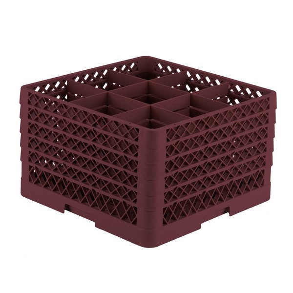 "Vollrath TR10FFFFA Traex® Full-Size Burgundy 9-Compartment 11"" Glass Rack with Open Rack Extender On Top"