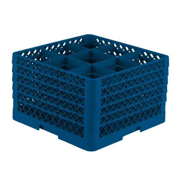 """Vollrath TR10FFFFA Traex® Full-Size Royal Blue 9-Compartment 11"""" Glass Rack with Open Rack Extender On Top"""