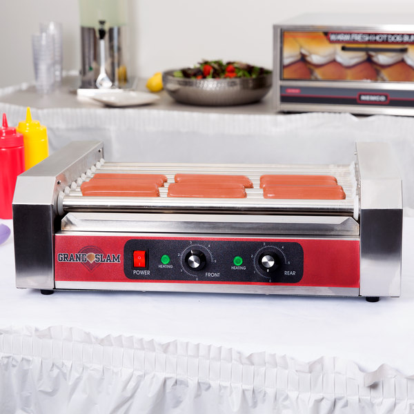 Grand Slam HDRG24 24 Hot Dog Roller Grill with 9 Rollers - 110V, 1350W