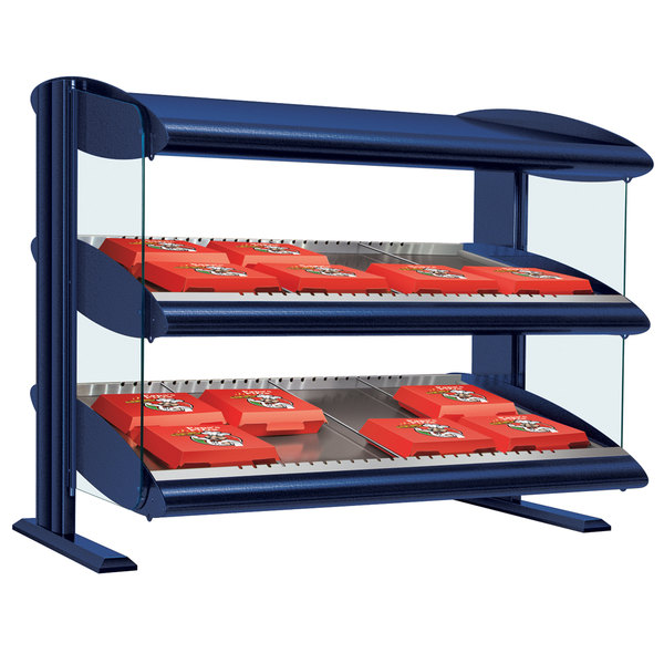 "Hatco HXMH-36D Navy Blue LED 36"" Horizontal Double Shelf Merchandiser - 120/208V"