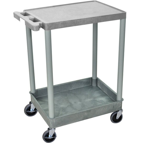 Luxor STC21-G Gray Two Shelf Utility Cart
