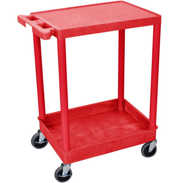 Luxor RDSTC21RD Red Two Shelf Utility Cart