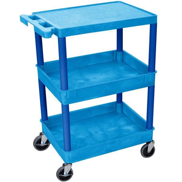 Luxor BUSTC211BU Blue Three Shelf Utility Cart Main Image 1