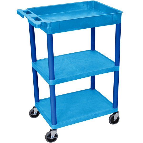 Luxor BUSTC122BU Blue Three Shelf Utility Cart