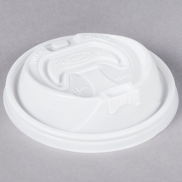 Dart 16RCL Optima White Travel Lid with Reclosable Tab - 100/Pack Main Image 1