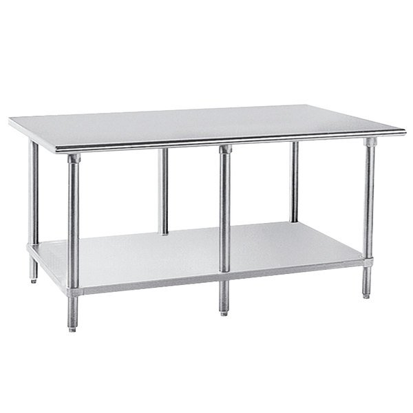 "Advance Tabco AG-3011 30"" x 132"" 16 Gauge Stainless Steel Work Table with Galvanized Undershelf"