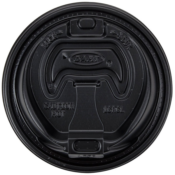 Dart 16RCLBLK Black Travel Lid with Reclosable Tab - 100/Pack