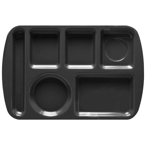 """GET TL-151 Black Melamine 9 1/2"""" x 14 3/4"""" Left Hand 6 Compartment Tray - 12/Pack"""
