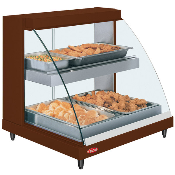 """Hatco GRCDH-2PD Copper 33"""" Glo-Ray Full Service Double Shelf Merchandiser with Humidity Controls - 1210W"""