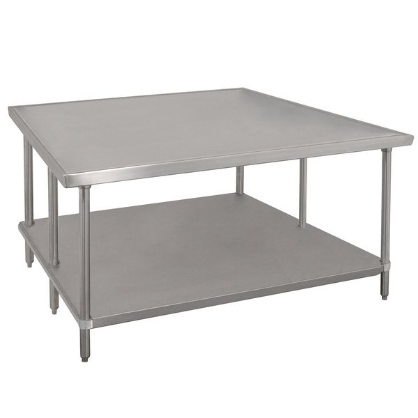 """Advance Tabco VSS-486 48"""" x 72"""" 14 Gauge Stainless Steel Work Table with Stainless Steel Undershelf"""