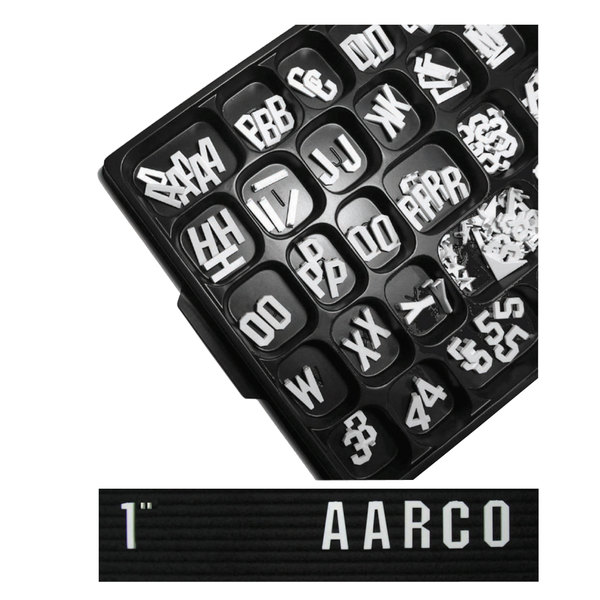 "Aarco GF1.0 1"" Gothic Style Universal Single Tab Letter and Number Set - 165 Characters"