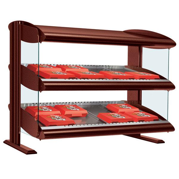 "Hatco HXMH-48D Antique Copper LED 48"" Horizontal Double Shelf Merchandiser - 120/240V"