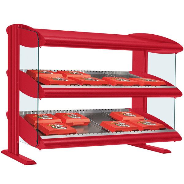 "Hatco HXMS-36D Warm Red LED 36"" Slanted Double Shelf Merchandiser - 120/240V"
