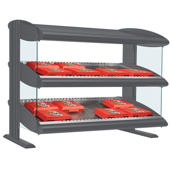 """Hatco HXMS-24D Gray Granite LED 24"""" Slanted Double Shelf Merchandiser - 120V"""