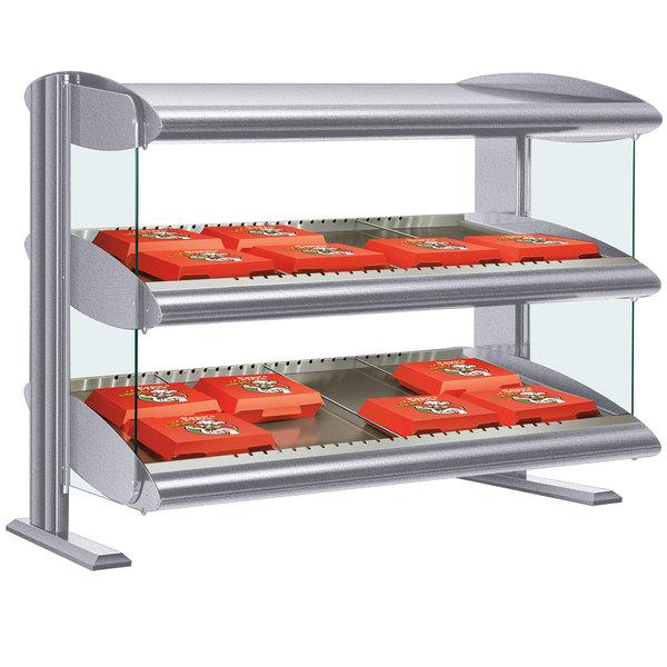 "Hatco HXMH-60D Gray Granite LED 60"" Horizontal Double Shelf Merchandiser - 120/208V Main Image 1"