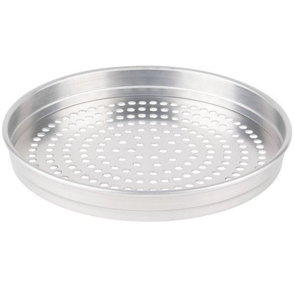 "American Metalcraft SPHA5109 5100 Series 9"" Super Perforated Heavy Weight Aluminum Straight Sided Self-Stacking Pizza Pan"