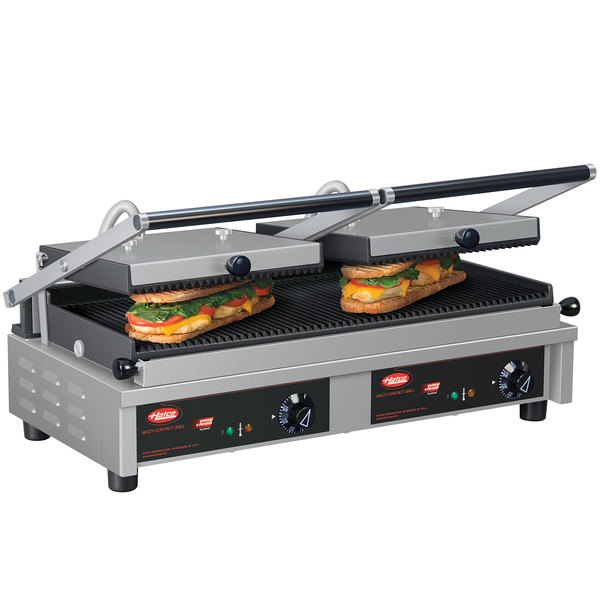 """Hatco MCG20G Multi Contact Double Panini Sandwich Grill with Grooved Cast Iron Plates - 20"""" x 10 1/4"""" Cooking Surface - 208V, 2820W"""