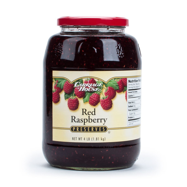 Red Raspberry Preserves with Seeds 4 lb. Glass Jar - 6/Case Main Image 1