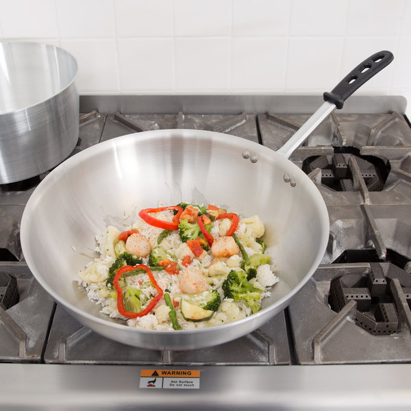 """Vollrath 77754 Tribute 14"""" Stir Fry Pan with TriVent Silicone Handle"""