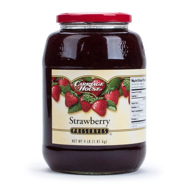 Strawberry Preserves 4 lb. Glass Jars - 6/Case
