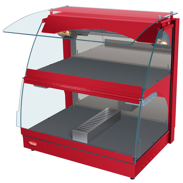 """Hatco GRCMW-1DH Red Glo-Ray 26"""" Self Service Double Shelf Curved Merchandising Warmer - 1660W"""