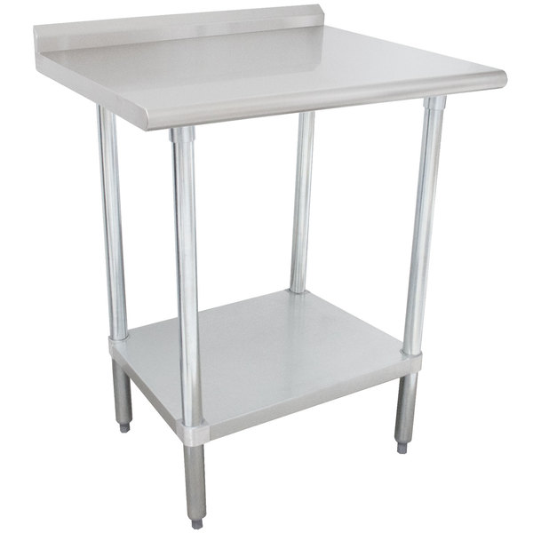 """Advance Tabco FLAG-242-X 24"""" x 24"""" 16 Gauge Stainless Steel Work Table with 1 1/2"""" Backsplash and Galvanized Undershelf"""