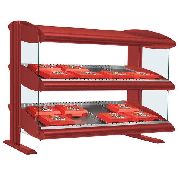 "Hatco HXMS-60D Warm Red LED 60"" Slanted Double Shelf Merchandiser - 120/240V"