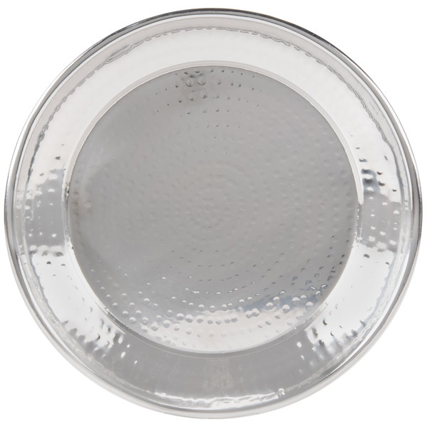 """American Metalcraft HMRST1301 13 1/2"""" Round Hammered Stainless Steel Serving Tray"""