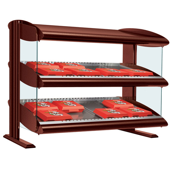"Hatco HXMS-54D Antique Copper LED 54"" Slanted Double Shelf Merchandiser - 120/240V Main Image 1"