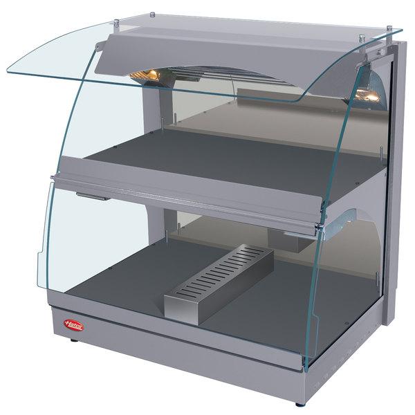 "Hatco GRCMW-1DH Gray Glo-Ray 26"" Self Service Double Shelf Curved Merchandising Warmer - 1660W"