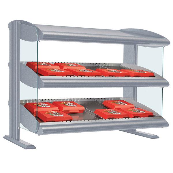 """Hatco HXMS-60D White Granite LED 60"""" Slanted Double Shelf Merchandiser - 120/240V"""