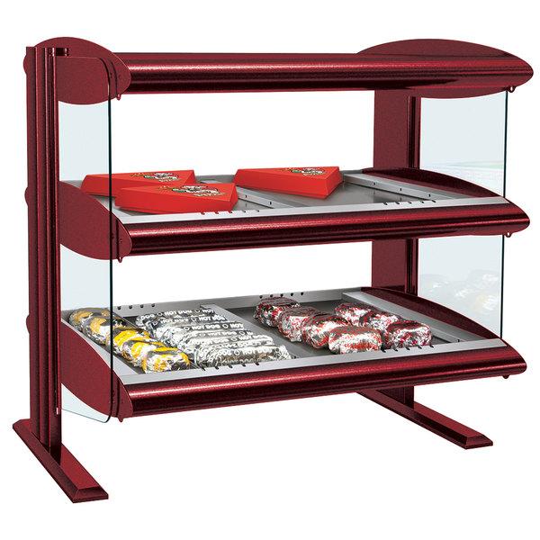 "Hatco HZMH-48D Warm Red 48"" Horizontal Double Shelf Heated Zone Merchandiser - 120/208V"