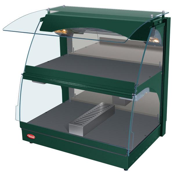 "Hatco GRCMW-1DH Green Glo-Ray 26"" Self Service Double Shelf Curved Merchandising Warmer - 1660W"