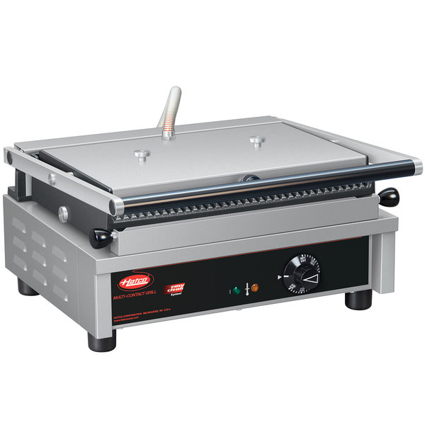 "Hatco MCG14G Multi Contact Panini Sandwich Grill with Grooved Cast Iron Plates - 13 3/4"" x 9"" Cooking Surface - 208V, 1950W"