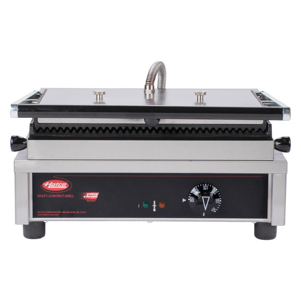 """Hatco MCG10G Multi Contact Panini Sandwich Grill with Grooved Cast Iron Plates - 10"""" x 9"""" Cooking Surface - 120V, 1800W"""